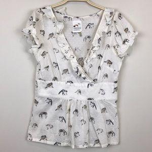 Anthropologie Raccoon Print Cotton Poplin Top 6 M